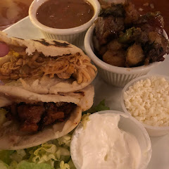 Gorditas, Fried Potatoes And pinto beans