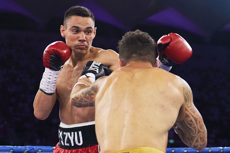 Tim Tszyu and Bowyn Morgan during the light-middleweight World Title elimination bout at Bankwest Stadium on December 16, 2020 in Sydney