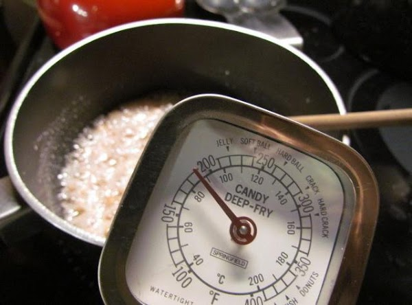 Using a candy thermometer to reach 270 degrees.