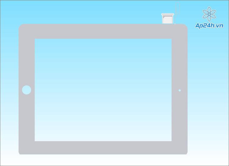 Khay SIM iPad ở vị trí gần dưới cùng, bên trái thân máy