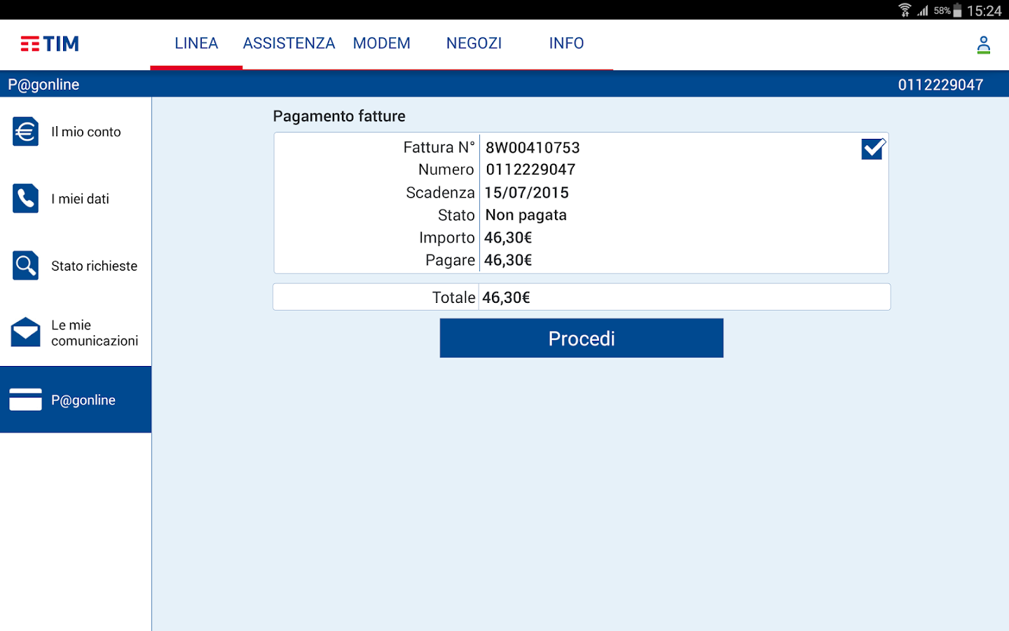 MyTIM Fisso- screenshot