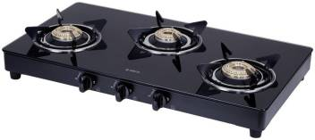 Elica 3 burner gas stove black