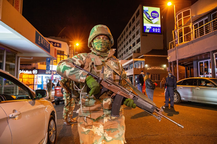 Members of the SANDF in Sea Point on July 24 2020 in Cape Town Picture: GALLO IMAGES/ROGER SEDRES