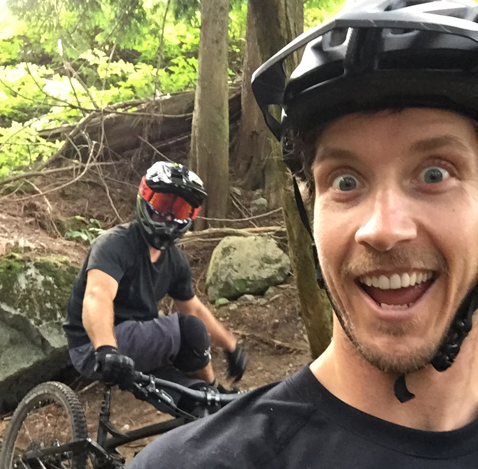 Two Mountain Bikers enjoying the safety of their helmet