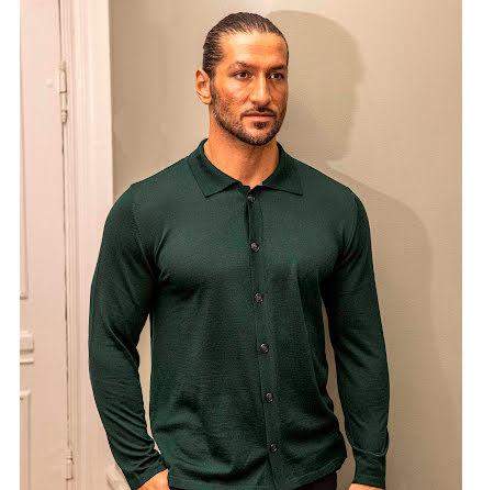 Gatsby - Overshirt Merino Cardigan med krage - Grön