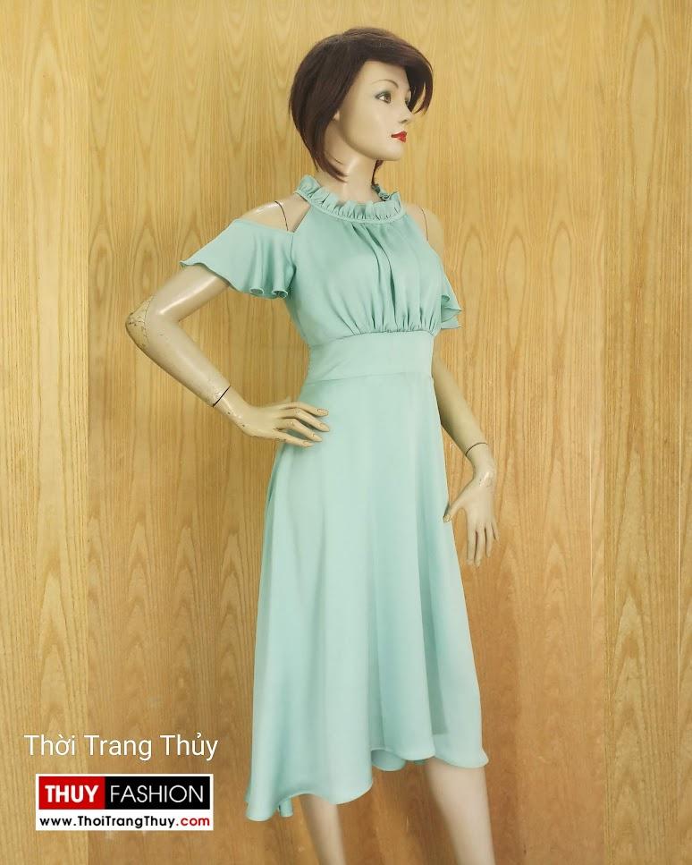 Váy xòe dáng dài trễ vai mặc đi dự tiệc đi biển V674 tại Sài Gòn