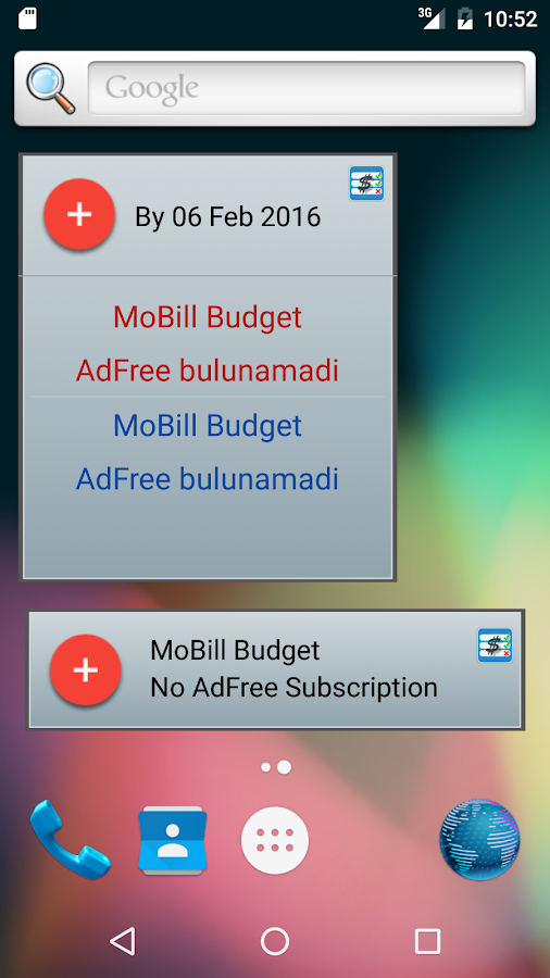 MoBill Budget and Reminder- screenshot