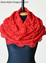 Photo: женский вязаный шарф-снуд Коралл