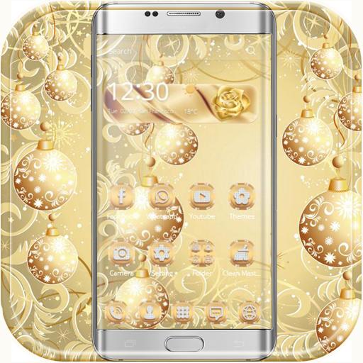 金色雪花球聖誕主題 金色鑽石圖示 金色聖誕夜主題 遊戲 App LOGO-硬是要APP