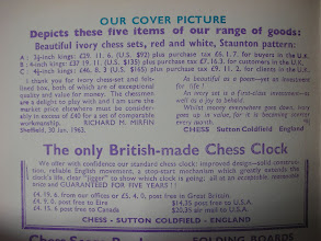 Photo: Interior cover to Chess magazine no 518 (previous photo). This clearly shows that the set on the cover is ivory. The first ref. I have found to this set is Feb 1966* - without any photo, but the same description. The testimonial printed in the advert, however, pre-dates this by quite a while!  * see next photo for an update on this.
