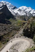 Photo: Steve negotiates a hairpin outside Jispa, Manali-Leh Highway, Himachal Pradesh, Indian Himalayas