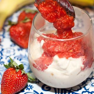 Soft Serve Banana Ice Cream and Strawberry Sauce