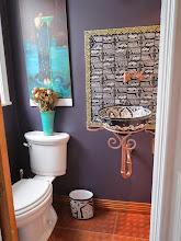 Photo: powder room with pocket door