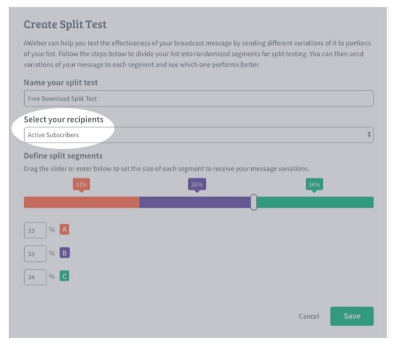 create split test in aweber