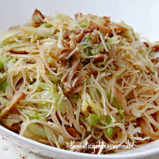 Fried Bee Hoon with Cabbage and Stewed Pork.