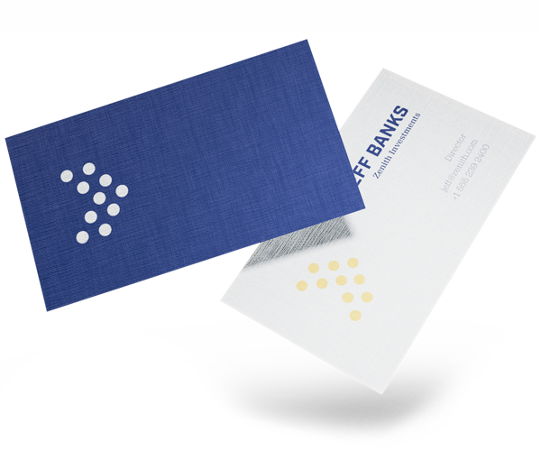 Two linen business cards that show a textured finish. White and Blue