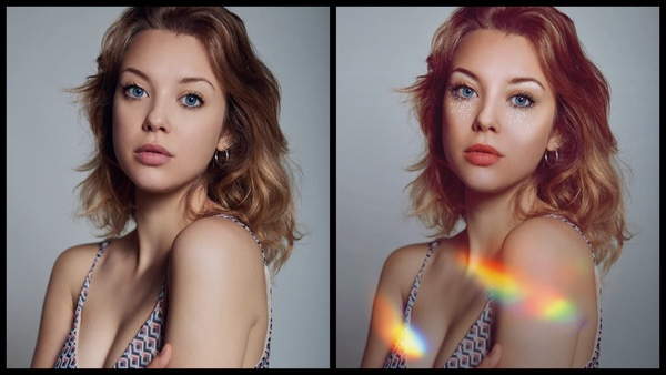 antes e depois da foto de uma mulher loira sendo que em uma foto tem um efeito que imita arco-irís