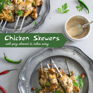 Low-Carb Chicken Skewers with Spicy Almond & Tahini Satay Recipe