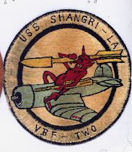 Photo: VBF-2 established at NAAS Pasco on 2 January 1945 and disestablished on 9 October 1945. Insignia is  Capt Jim Daniels. USS Sahngri-LA (CV-38) 1945. Insignian designed by Ens Newton Kline.Tailhook Association