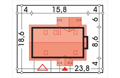 Aston wersja D podwójny gar., ścianka kolankowa - Sytuacja