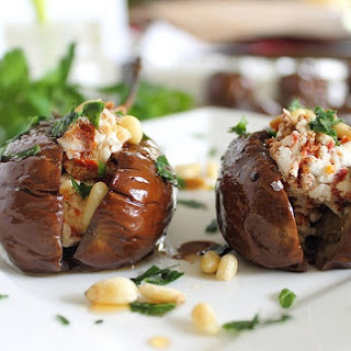 Roasted Baby Eggplants with Goat Cheese Stuffing