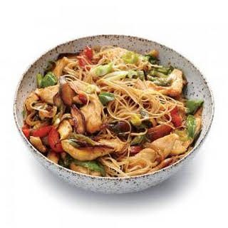 Chicken and Rice Noodle Stir-Fry with Ginger and Basil.