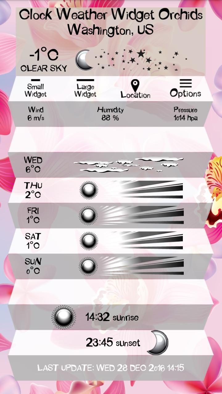 Скриншот часы виджет орхидеями