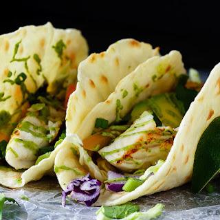 Fish Tacos with Avocado Cream.