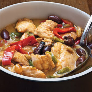 Chicken and Pepper Stew With Olives.
