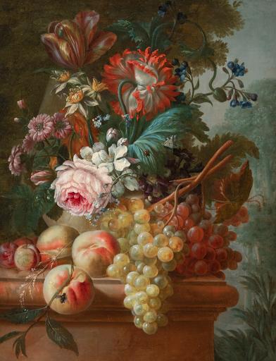 Francois-Nicolas Laurent - Fleurs et fruits sur un entablement de pierre