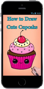 Learn How to Draw a Cute Cupcake #1 step by step - náhled