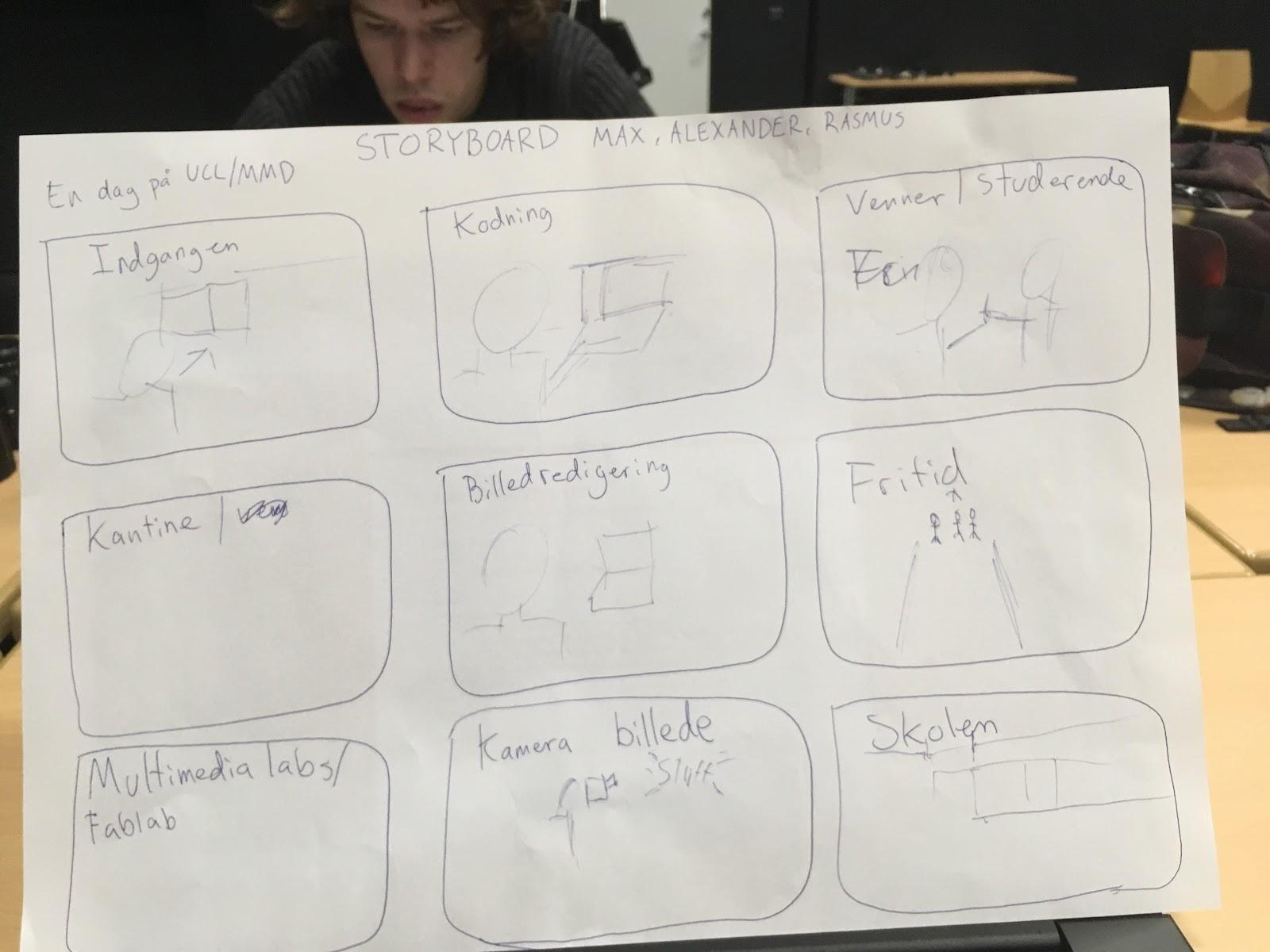 """Storyboard for """"En dag på UCL""""."""