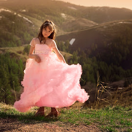Summer Mountain Princess by Nicole Ferris - Babies & Children Child Portraits ( mountains, pink, outdoor photography, princess, girl, summer )