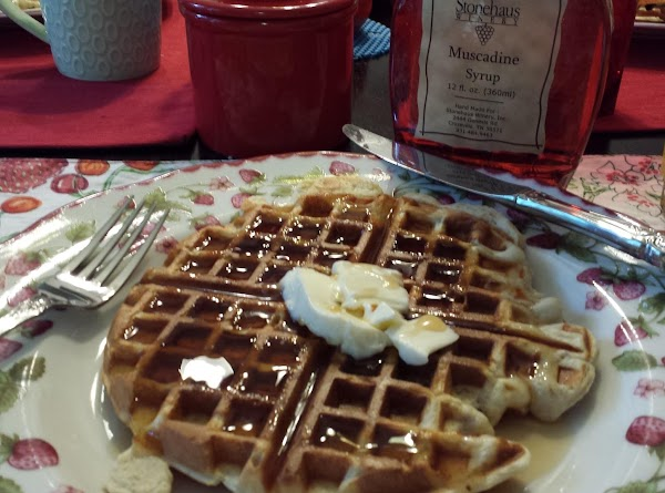 Serve with butter and maple syrup. Or, butter-pecan flavored syrup is also good.