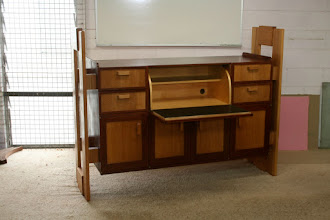 Photo: Desk by John Elkins Iron Bark, Bunya and fiddleback Tuart