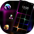 Neon light shining colorful cube theme icon