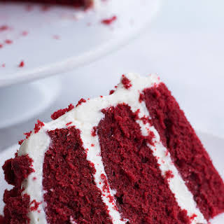 Moist Red Velvet Cake and Whipped Cream Cheese Frosting.