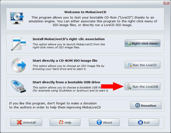 Lựa chọn Run the LiveUSB trên giao diện hiển thị của MobaLiveCD