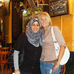 Woman in Hijab posing with her friend Krystal at Khan el Khalili