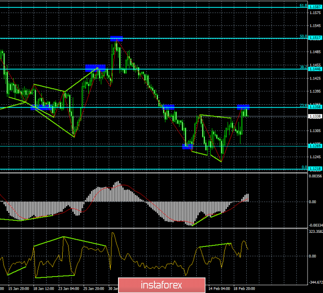 Analysis of the divergence of EUR / USD for February 20. The level of 1.1360 does not let the pair go up