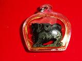 สิงห์แกะจากไม้งิ้วดำ (ไม่หุ้มพลาสติก)  สร้างปี พ.ศ.2536 หลวงพ่อแล วัดพระทรง