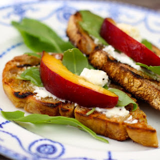 Goat Cheese Bruschetta with Peaches and Arugula Recipe
