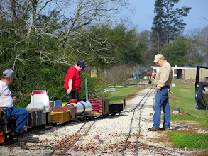Photo: Gerald Lee (engineer), Chris Tolley (brakeman), and Bob Barnett (conductor).  HALS OPS Day 2014-0329 RPW