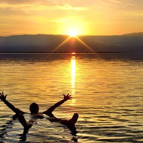 Sun Set in Dead Sea by Donny Novianus - Landscapes Sunsets & Sunrises