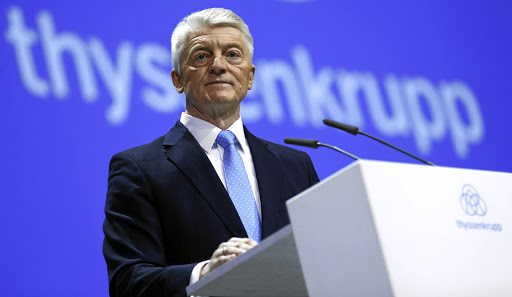 Out: Heinrich Hiesinger addresses what would be his last annual shareholders meeting as the CE of Thyssenkrupp. Picture: REUTERS