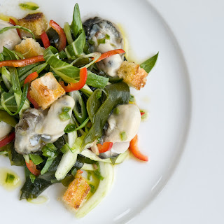 Oyster and Sea Lettuce Salad with Anchovy Vinaigrette.