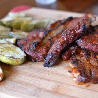 Grilled Pickles & Pork Steaks.