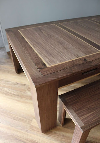 Dark Walnut Dining Top with Contrasting Oak Inlay