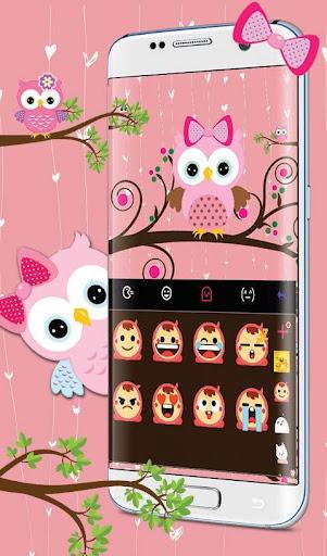 Pink Bow Owl Keyboard Theme 6.2.2 screenshots 4