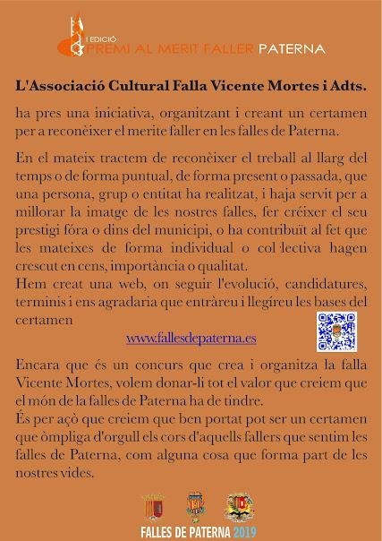 I Edició Premi Merit Faller Paterna